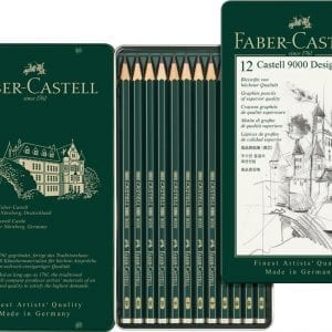 Castell 9000 Design Set of 12 Pencils (5B,4B,3B,2B,B,HB,F,H,2H,3H,4H,5H)-1