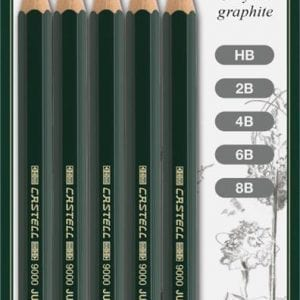 Castell 9000 Jumbo Pencil Assorted Blister of 5 (HB 2B 4B 6B 8B)-1
