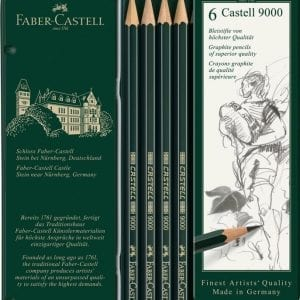 Castell 9000 Set of 6 Pencils (HB, B, 2B, 4B, 6B, 8B)-1