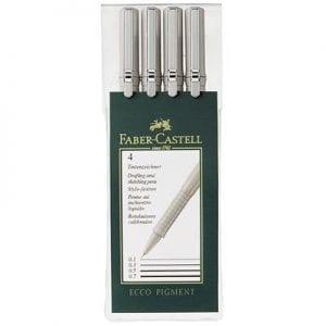 Ecco Pigment Fibre Tip Pen Wallets 4 Pens (0.1 0.3 0.5 & 0.7mm)