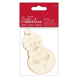 Etched Wooden Tags (4pk) - Create Christmas - Snowman