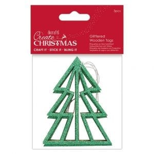 Glittered Wooden Tags (3pcs) - Create Christmas - Tree